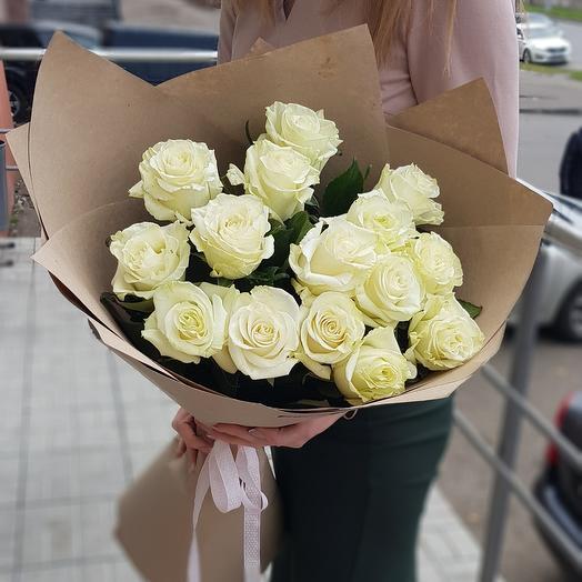 15 белых роз Премиум