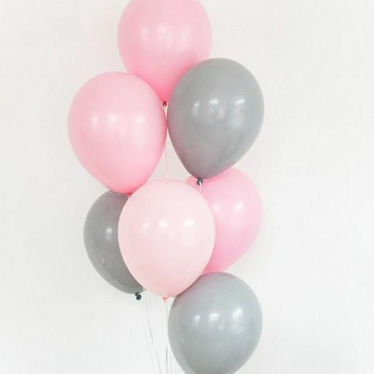 """Связка воздушных шаров""""серый-розовый"""""""