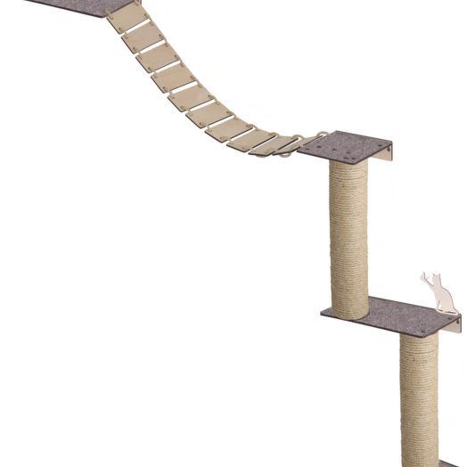 Настенный игровой комплекс для кошек Хвостович 130, цвет: бежевый