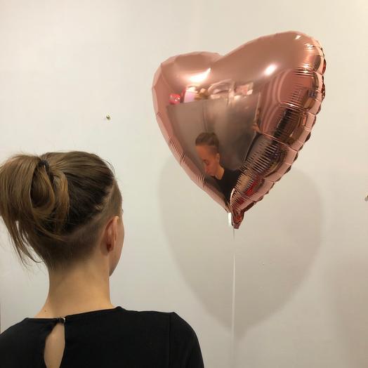 Шар фольга сердце бронза