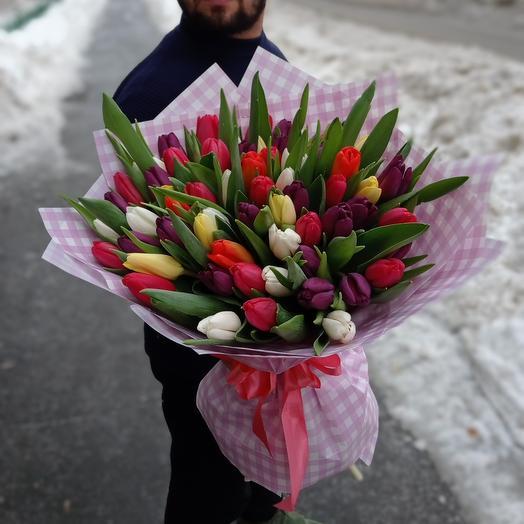 """Букет из 61 тюльпан """"Микс"""""""