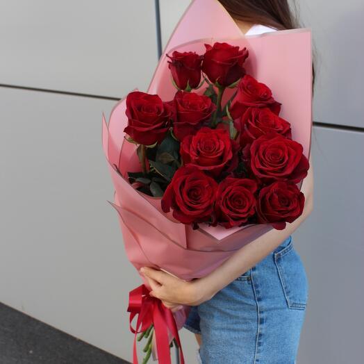 11 импортных роз 80 см