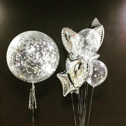 """Воздушная композиция """"Магическое серебро"""": букеты цветов на заказ Flowwow"""