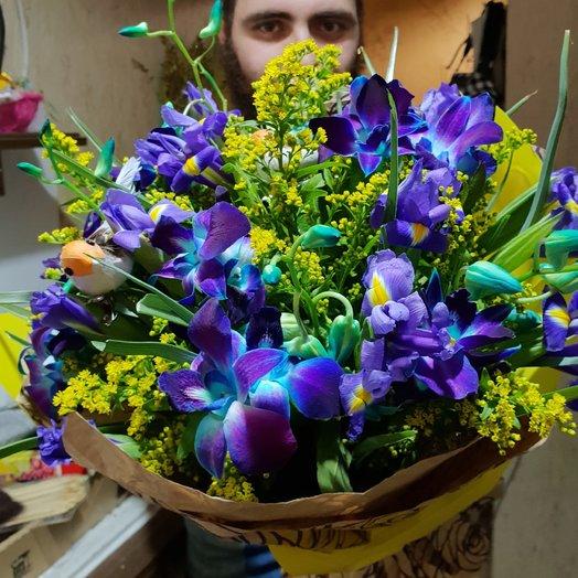 Русские тропики, орхидея ирис солидаго от Floristic World : букеты цветов на заказ Flowwow