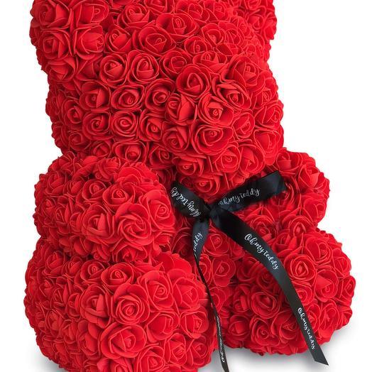 Красный мишка из 3Д роз: букеты цветов на заказ Flowwow