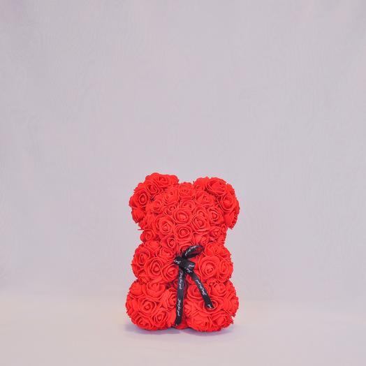 Мишка из роз RozaRoseКрасный- 25 см