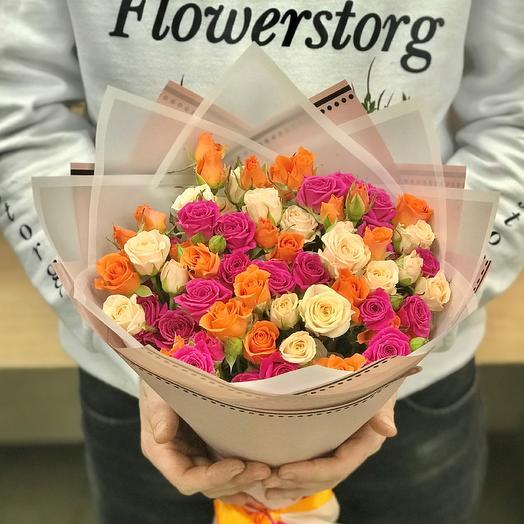 Кустовые розы. Монобукет. N379: букеты цветов на заказ Flowwow