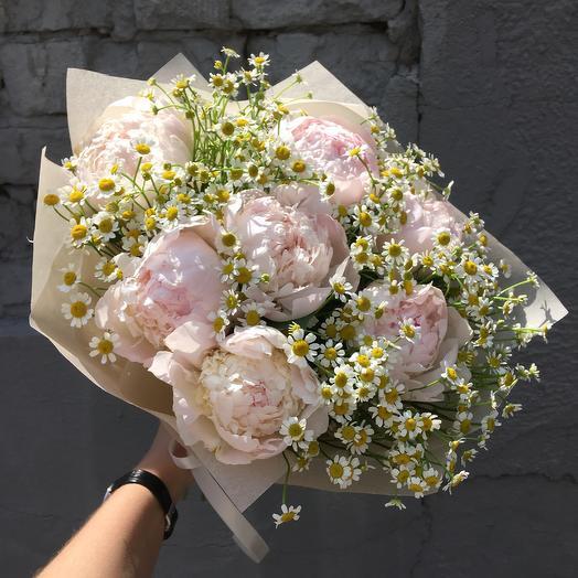 Нежный букет пионов: букеты цветов на заказ Flowwow