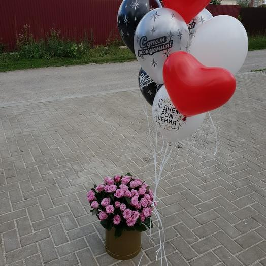 51 роза в коробочке с шарами