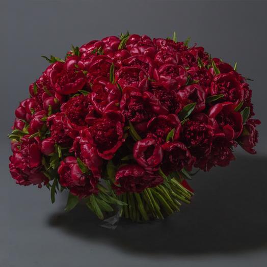 """Букет """"101 Красный Пион"""": букеты цветов на заказ Flowwow"""
