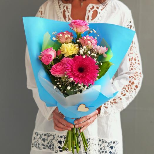 Голубой букет из роз и герберы 1 сентября: букеты цветов на заказ Flowwow