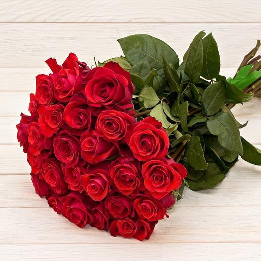 Букет из 25 Роз красных премиум: букеты цветов на заказ Flowwow