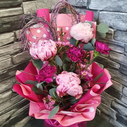 """Букет с пионами """"14 февраля"""": букеты цветов на заказ Flowwow"""
