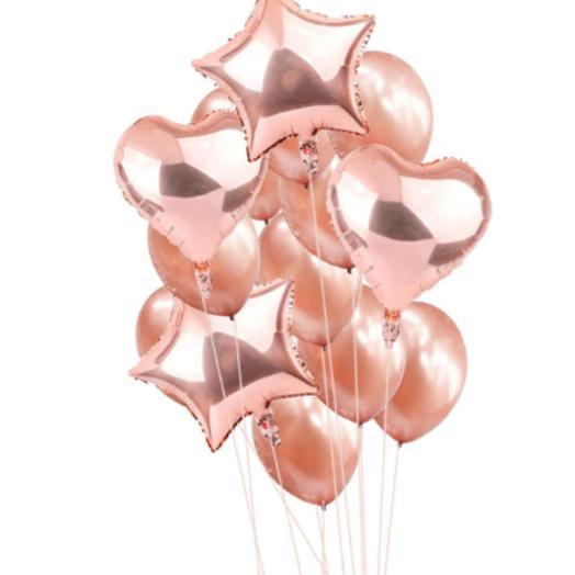 Цветные  гелиевые шары фонтан розовое золото