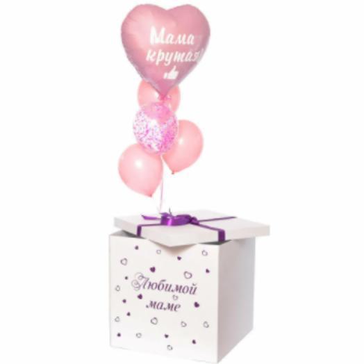 Коробка-сюрприз белая  60*60*60 с шарами  и оформлением в розовых тонах
