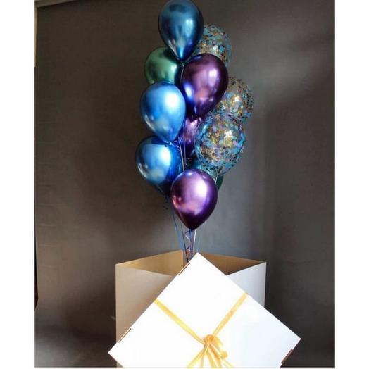 Коробка  сюрприз с шариками хром