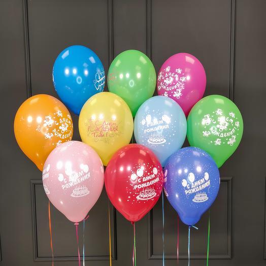 Воздушные разноцветные шарики С днём рождения пастель 25 шт