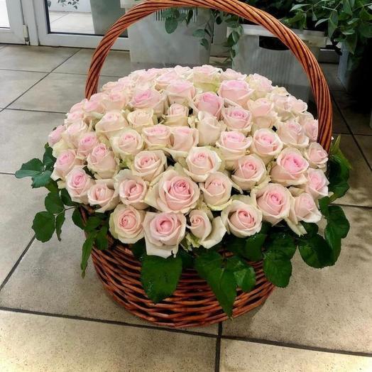 101 нежная роза в карзине