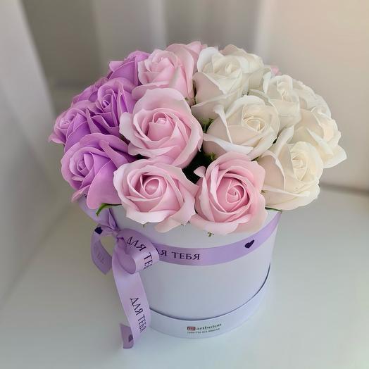 Сиреневые розы из мыла микс омбре