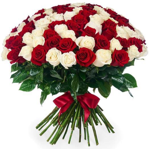 Букет из 101 красной и белой розы (60 см)