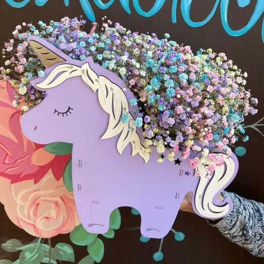 Цветы в коробке Единорог