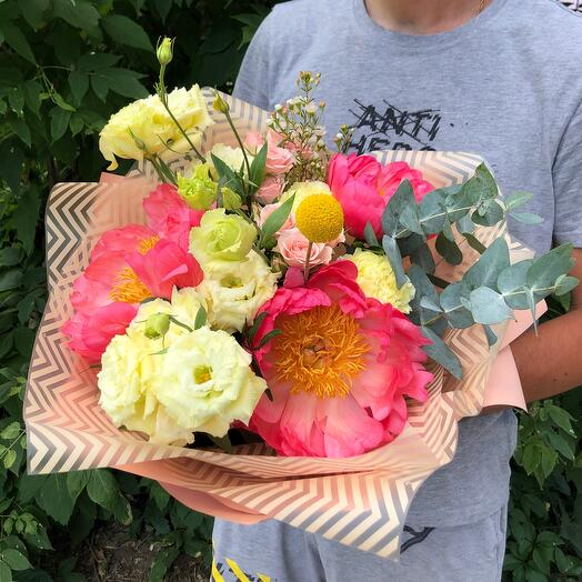 With coral sharm peonies