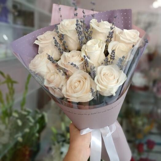 """Bouquet of roses and lavender """"Smile"""""""