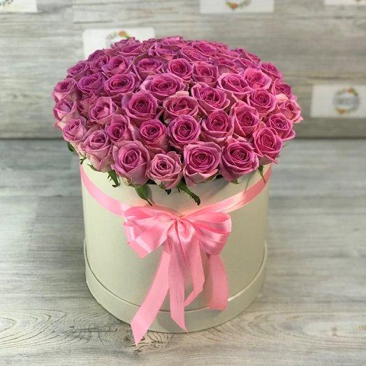 Коробки с цветами. Розы. Розовые. 51 шт. N121: букеты цветов на заказ Flowwow