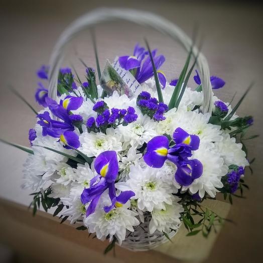 Basket of irises and chrysanthemum