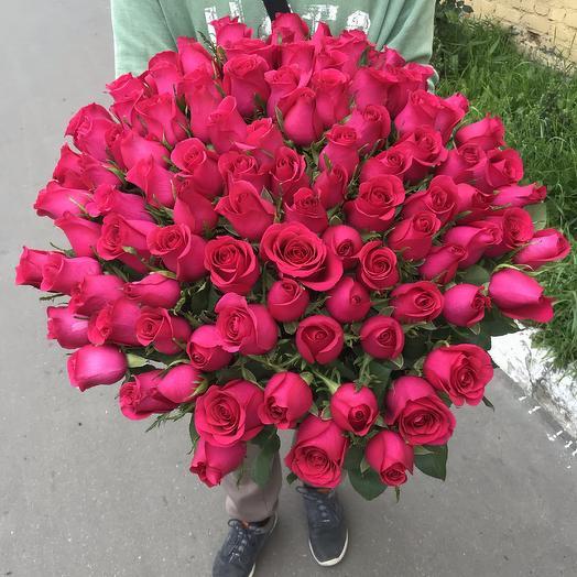 Букет из 101 малиновой розы 60 см