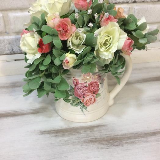 Композиция с искусственными цветами в стиле «Прованс»: букеты цветов на заказ Flowwow