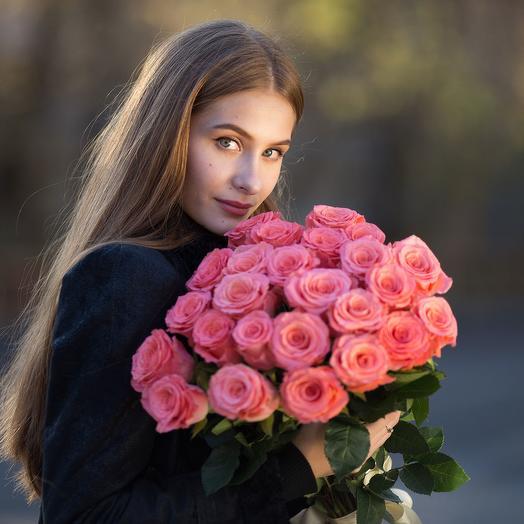 """НК"" Букет из 25 розовых роз 55-60 см: букеты цветов на заказ Flowwow"