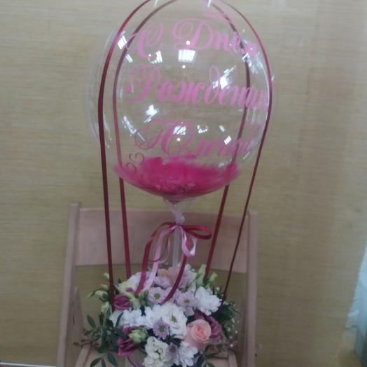 Цветы в коробке с шаром бабблс