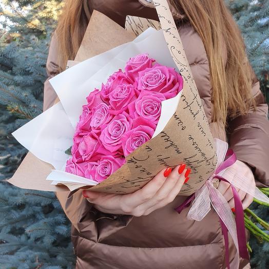 Rosalina Монобукет из 15 розовых роз
