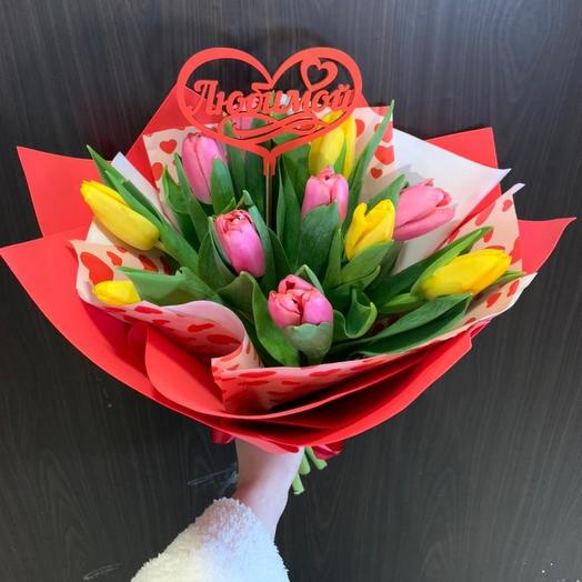 11 тюльпанов с топпером