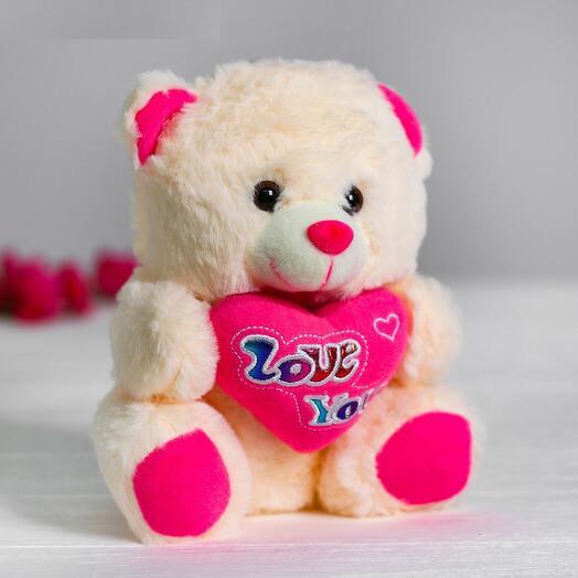 Мягкая игрушка «Медведь с сердцем», цвет розовый