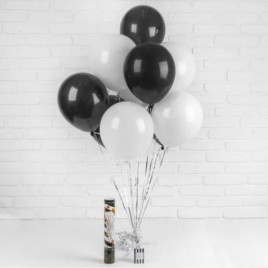 Черно-белые шарики 9шт