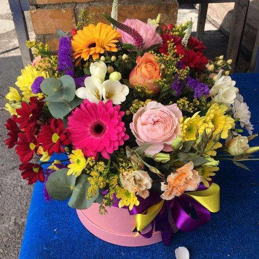 Шляпная коробка Лето Микс: букеты цветов на заказ Flowwow