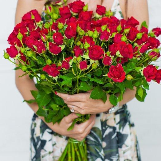 Букет из 25 кустовых роз «Red»: букеты цветов на заказ Flowwow