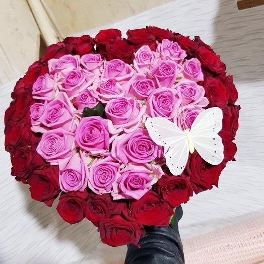 Сердце из 55 роз: букеты цветов на заказ Flowwow