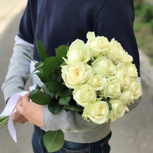 Белая роза 50 см 15 шт. N174: букеты цветов на заказ Flowwow