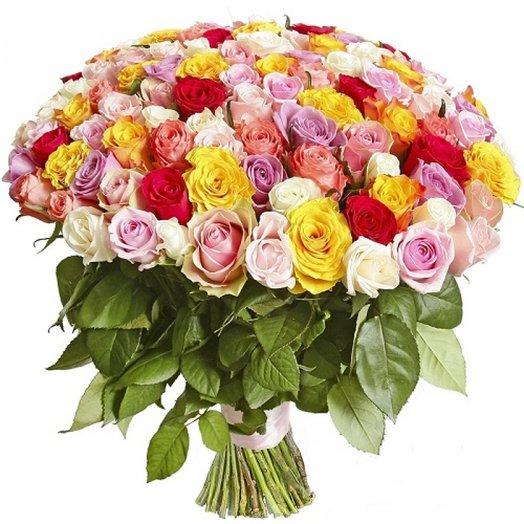 101 разноцветная роза: букеты цветов на заказ Flowwow