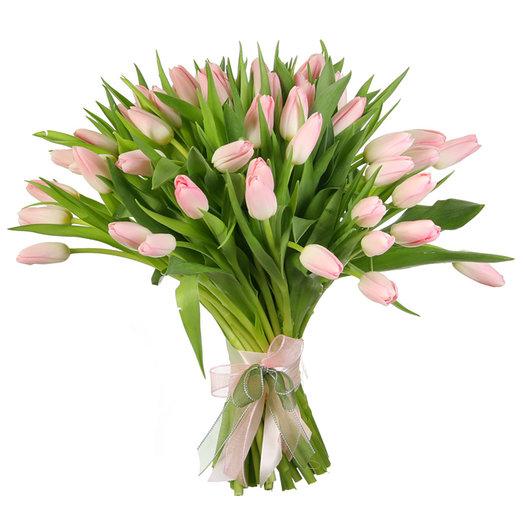 """Букет из 51 нежно-розового тюльпана """"Династия"""": букеты цветов на заказ Flowwow"""