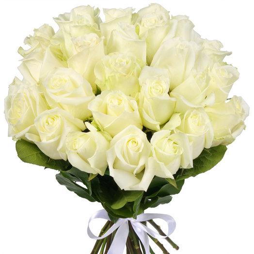 Букет из 25 белоснежных эквадорских роз