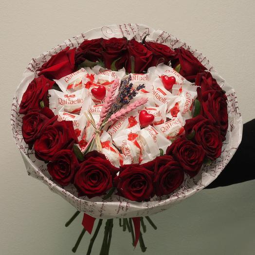 Букет - сердце с раффаэлло: букеты цветов на заказ Flowwow