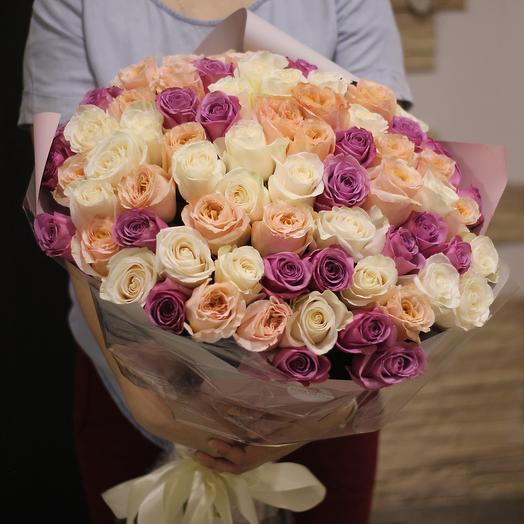 71 эквадорская роза длинной 60 см: букеты цветов на заказ Flowwow