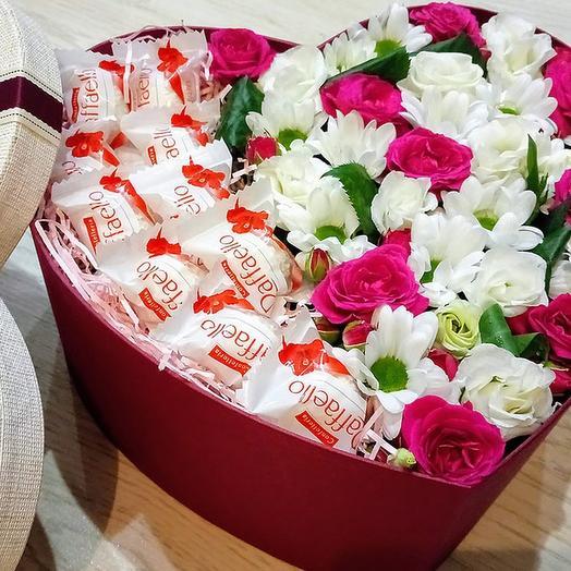 Сердце с конфетами: букеты цветов на заказ Flowwow