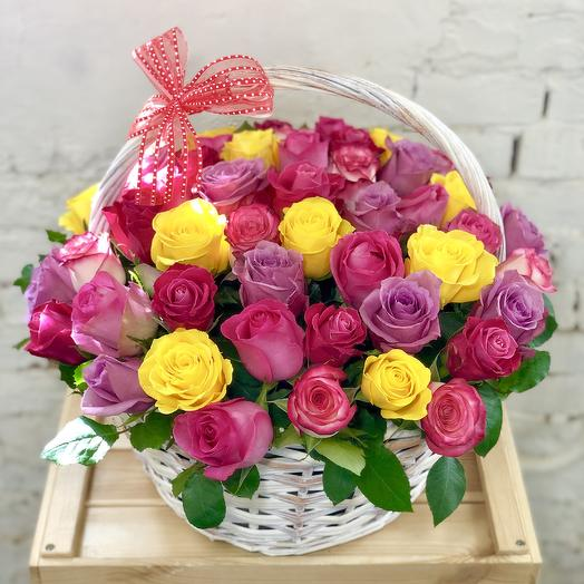 51 rose Mix in a Basket