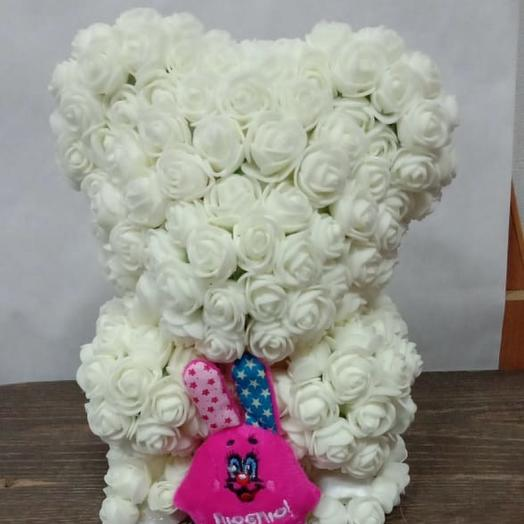 Валентинка Мишка из роз 2: букеты цветов на заказ Flowwow