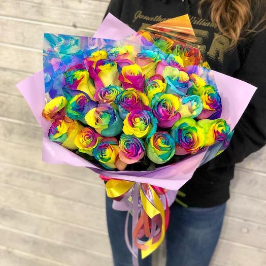 Радужные розы -  25шт